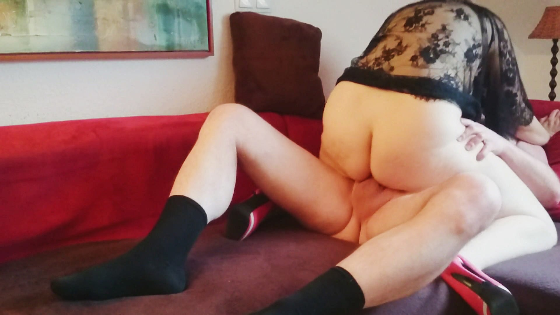 Male masturbation with a sock